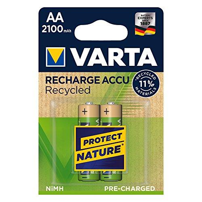 Recycled Mignon Akku AA 2100mAh Batterien 2er-Pack