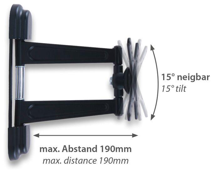 JM200C 180° Wand Halterung bis 81,3 cm (32 Zoll) 12 kg -15 - 15° Neigung