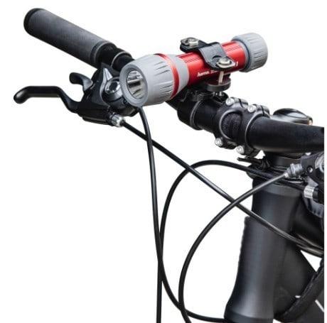 Hama 00136674 Universal-Taschenlampen-Halter für Fahrradlenker 360° drehbar (Schwarz)