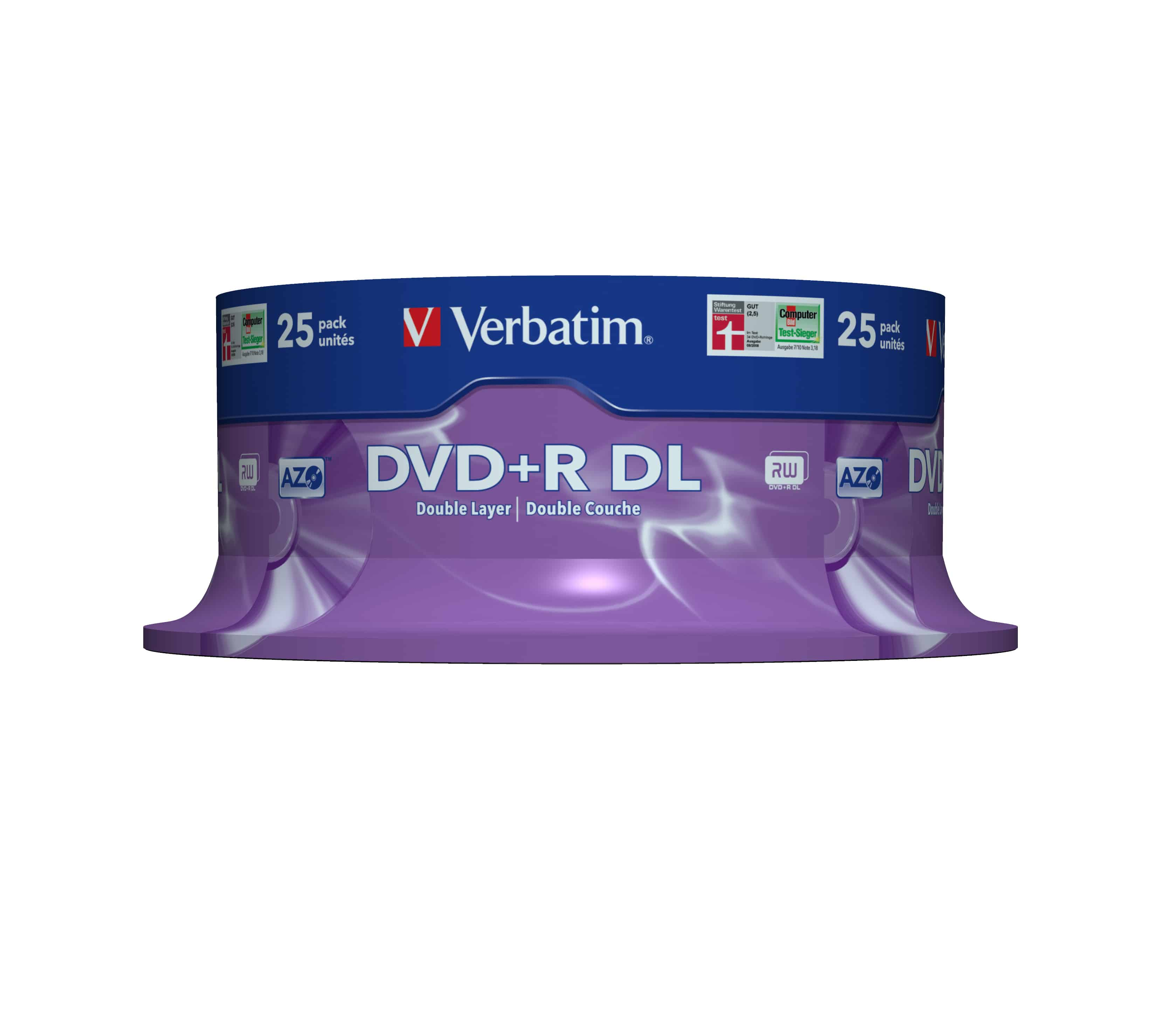Verbatim DVD+R Double Layer 8x Matt Silver 25pk Spindle für 31,46 Euro